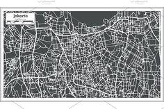 #Jakarta #Indonesia #City #Map in #Retro  by Igor Sorokin on @creativemarket