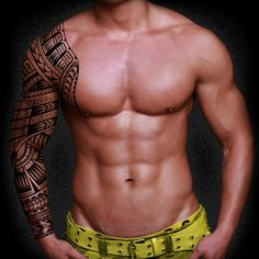 Amazing Samoan Tattoo Design... and that body isn't bad either..... You could do this in liquid eyeliner for an event so it can be changed. Not to mention way less painful......