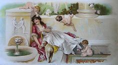 c1894 LADY Cupid s Print V. Tojetti Chromolithograph Half Yard Long Antique Victorian