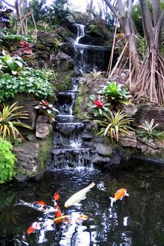 Beautiful waterfall with pond