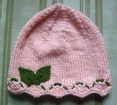 This sweet little hat is embellished with a small amount of Cascade Malizia yarn, which gives the appearance of flowers along the brim. Pretty ribbon could be substituted. Baby Dress Pattern Free, Crochet Baby Hat Patterns, Baby Dress Patterns, Crochet Baby Hats, Free Pattern, Baby Hats Knitting, Knitted Hats, Knitting Projects, Ravelry