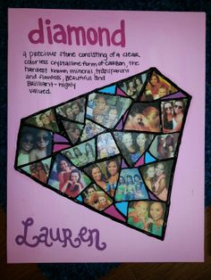 For our beautiful diamonds/new members.  A super cute craft.