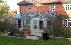 lean to Garden room Bourne Lean-To With Gable End Conservatory Extension Conservatory Dining Room, Lean To Conservatory, Glass Conservatory, Conservatory Extension, Lean To Roof, Three Season Room, Garden Levels, Glass Building, Shed Roof