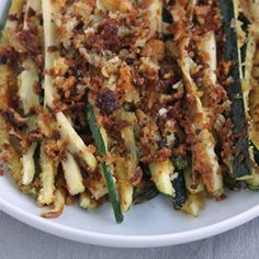 herb and whole wheat panko-crusted zucchini spears, a healthier alternative to french fries.