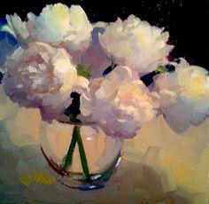 """Pushing Peonies by Dennis Perrin Oil ~ 12"""" x 12"""""""