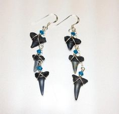 Shark Tooth Earrings  Ocean Jewelry  Mermaid by JBellsGems on Etsy, $26.00
