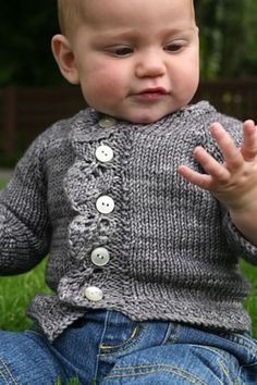 Beautiful lacy #knit cardigan for babies.  This is the perfect pattern for spring!