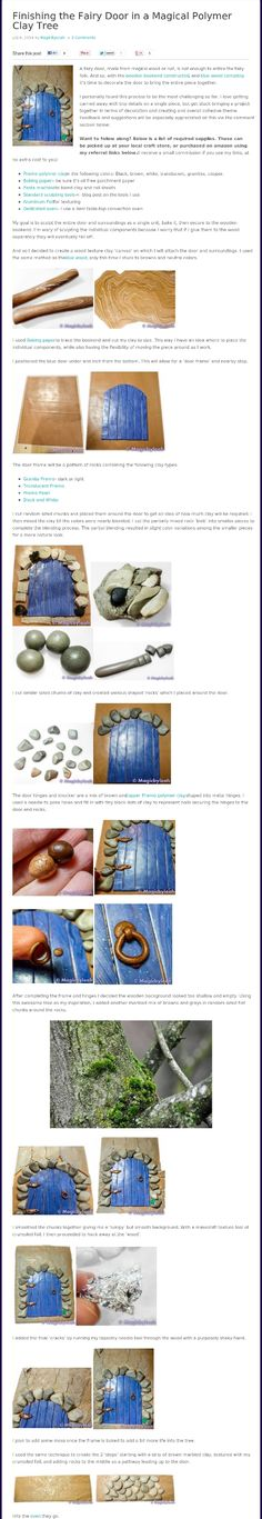 Polymer clay fairy door bookend - putting the door together complete with aged tree background and rocks in the walkway