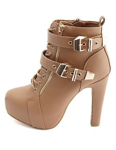 Lace-Up Belted Platform Booties #charlotterusse