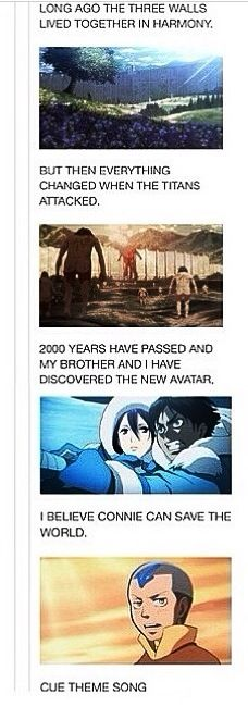 Avatar and attack on titan!! Eren Yeager. Mikasa Ackerman. Connie Springer.