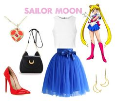 sailor moon inspired casual outfit on Polyvore featuring moda, Glamorous, Chicwish and London Road