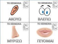 5 senses in winter in Greek Greek Language, Alpha Gamma, Teacher, Science, Activities, Writing, Figs, Learning, School