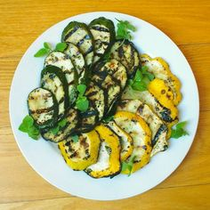 Greek Marinated Grilled Eggplant and Summer Squash - super-easy way to get all of those great summer veggies out of the crisper and into your mouth!