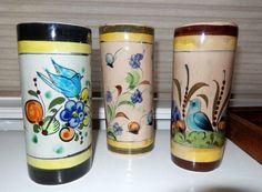 Three Mexican Pottery Tonala Vases or Glasses by rhinestonesrock, $28.00