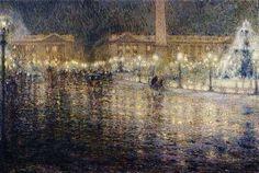 """Henri Le Sidaner """"Paris sous la pluie"""" 1909"""