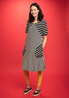 Striped dress in eco-cotton – Roses, stripes and jacquard – Gudrun Sjödén