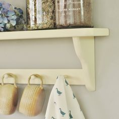 Shaker Kitchen Shelf by Seagirl and Magpie, the perfect gift for Explore more unique gifts in our curated marketplace. Wooden Pegs, Wooden Shelves, Wooden Shelf Design, Hanging Scarves, Little Greene, Shaker Kitchen, Shaker Style, Kitchen Shelves, Solid Pine