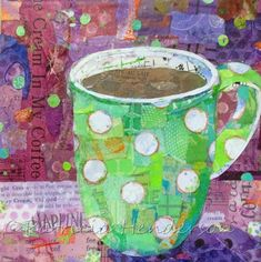 Torn Paper Collage and Other Stuff! by PatriciaHendersonArt Fox Painting, Mixed Media Painting, Mixed Media Collage, Collage Art, Paper Collages, Collage Ideas, Art Ideas, Coffee Cup Art, Coffee Coffee