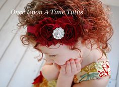 Check out this item in my Etsy shop https://www.etsy.com/listing/219624102/maroon-shabby-flower-headband-winter