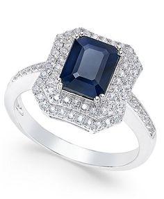 Blue Sapphire (2 ct. t.w.) and White Sapphire (1 ct. t.w.) Rectangular Statement Ring 14k White Gold | macys.com