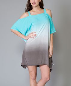 Look at this Morning Apple Blue & Gray Cutout Shift Dress on #zulily today!