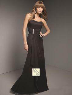 US $79.99 Column Strapless Beading Sleeveless Floor-length Chiffon Black Prom Dress / Evening Dress