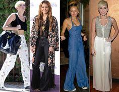 Quer uma calça que te deixa mais magra e alta? Faça como Miley e aposte nas modelagens flare e pantalona! A peça ainda ajuda a deminuir medidas do quadril e marcar a cintura.