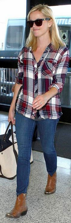 Reese Witherspoon: Sunglasses – Westward Leaning Shirt – Rails Jeans – Rich and Skinny Shoes – Golden Goose