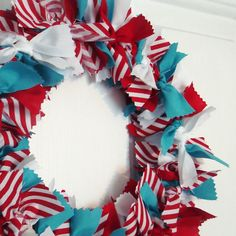 Red White and Turquoise Fabric Wreath by PolkaDotSkies on Etsy, $22.00
