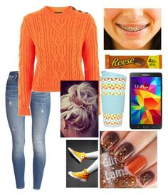 """""""Orange Passion"""" by christina-cookie ❤ liked on Polyvore featuring Samsung and Converse"""