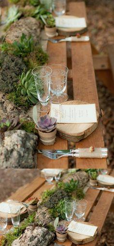 rustic succulent wedding centerpiece