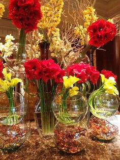 Flowers in the lobby of the Ritz Carlton Dallas