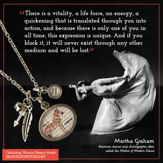 Today we are celebrating Martha Graham for Women's History Month. The jewelry selection embodies her free spirit and original style of dance. Martha Graham, Pick Up Sticks, Asian American, Dance Company, Modern Dance, Human Emotions, Women's History, Jewelry Companies, All About Time