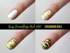 Chalkboard Nails: Camouflage nail art tutorial #iheartnailart
