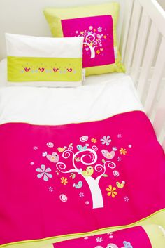Our Secret Garden Cot Linen #cot#baby#linen#bedding#secretgarden#pink#girl#toddler#decor#birds#trees#love