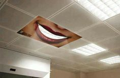 "Whitening toothpaste ad. This would be so cool in a dentist's office and takes up no extra space, but when people see it it's such a satisfying ""aha!"" moment!"