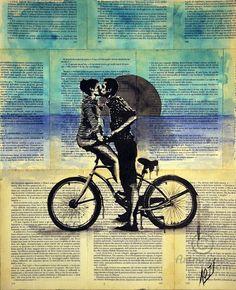 True blue love - Картина,  37x45x0,1 cm ©2016 - Layla Oz -                                                                                                                        Иллюстрация, Минимализм, Поп-арт, Портретная живопись, Бумага, Пляж, Велосипед/мотоцикл, Любовь / Романтика, vintage book pages, collage, ink drawing, romantic, love, lovers couple, love and bicycle, on book pages, portraiture, pop art, modern and vintage, painting on vintage book pages, illustration on vintage pages
