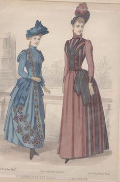 Antique Print French Paris Victorian Color Dessin de Mode - Le Conseiller des Dames et des Demoiselles (B22) via Grandpa's Market. Click on the image to see more!