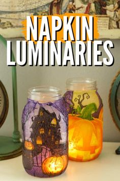 Aren't these beautiful!? So easy to make and a great fall project for your home! #halloween #luminaries #halloween #kidscrafts #fallcrafts #homedecor #craftsbyamanda Craft Activities For Kids, Crafts For Kids, Craft Ideas, Decor Ideas, Mason Jar Crafts, Mason Jars, Recycled Jars, Scary Decorations, Holidays Halloween