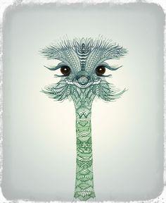 Ostrich Girl Art Print #ostrich #illustration #cute