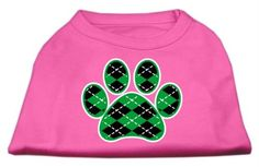 Mirage cat Products Argyle Paw Green Screen Print Shirt Bright Pink XXXL (20) > You can find more details here : Cat Apparel