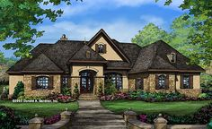 Luxury Home Design: The Spenser Hall. This luxury one story home design enjoys rear views in nearly every room, and a unique open layout. Read more on our #House #Plans #Blog! http://houseplansblog.dongardner.com/luxury-home-design-spenser-hall/
