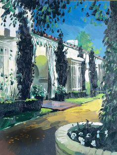 A painting by Julian La Trobe of After All, the Beverly Hills, California, house where decorator Elsie de Wolfe and her husband, Sir Charles Mendl, settled in the 1940s. The couple became Hollywood's preeminent hosts.