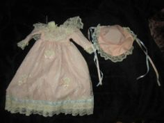 Vintage pink lace 2 piece doll dress & hat set for 12-14 inch doll