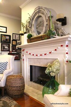 Decoration, Spring Decor White Fireplace Mantel Designs With Fresh Flower Small Apartment Living Room Ideas: Dazzling Fireplace Mantel Decor Welcoming Spring Season