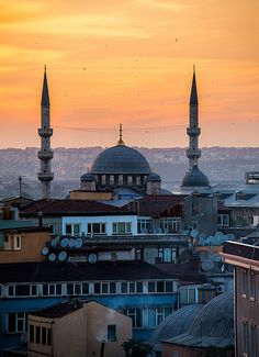 The Fatih Mosque stands out against a fiery sunset over Istanbul. The Fatih Mosque is an Ottoman imperial mosque located in the Fatih district of Istanbul, Turkey. It is one of the largest examples of Turkish-Islamic architecture in Istanbul and represented an important stage in the development of classic Turkish architecture.