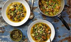 The weekend cook: vegetarian scotch eggs plus a super-seasonal jersey royal, wild garlic and pearl barley broth – Thomasina Miers' recipes | Life and style | The Guardian
