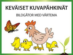 Keväiset kuvapähkinät -sivulla on muistiharjoituksia suomeksi ja ruotsiksi | Hjärngympa: Bildgåtor med vårtema, Memorera vårbilderna Special Education, Winnie The Pooh, Rooster, Disney Characters, Fictional Characters, Language, Kids, Animals, Young Children