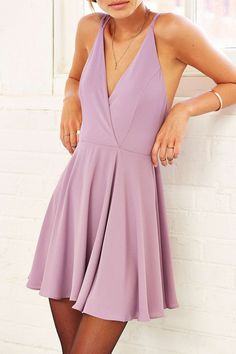 Sparkle & Fade Strappy Chiffon Skater Dress - Urban Outfitters Mauve - XS