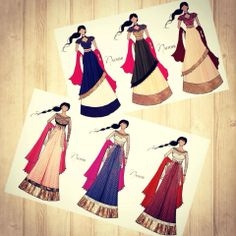 Fashion illustrations by #Naoumi.  Book an appointment today for beautiful custom made bridal lehengas and other occasion wear !  #lehengas #sari #anarkali #gowns #designrwear #fashiondesigner #indian #desi  Like and share us on FB www.facebook.com/naoumi.clothing Contact :+919892224228 or email at naoumi.clothing@gmail.com